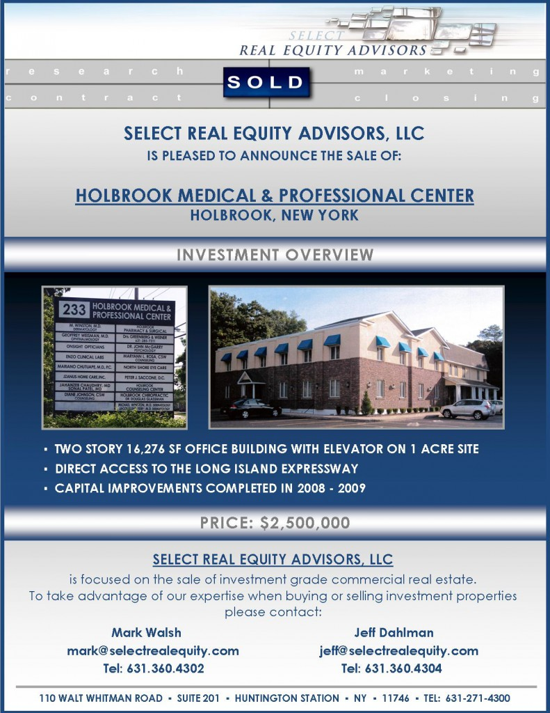 Closing Announcement,Holbrook Medical & Professional Center, MW&JD for website